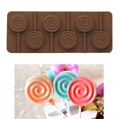6 - lollipop Silicone Ice Cube Chocolate Cake Cookie Cupcake Soap Molds Mould