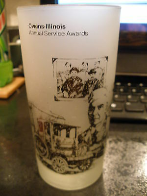 """Vintage Owens-Illinois """"Libbey"""" Annual Service Awards Frosted Glass - Very Nice"""