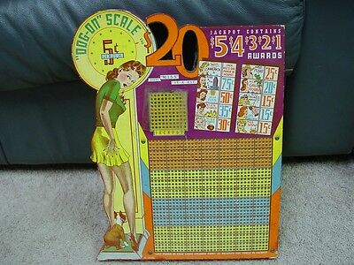 """""""DOG-ON SCALE """" WWII ERA  PUNCHBOARD WITH PIN UP GIRL  DIE CUT BOARD (L@@K!)"""