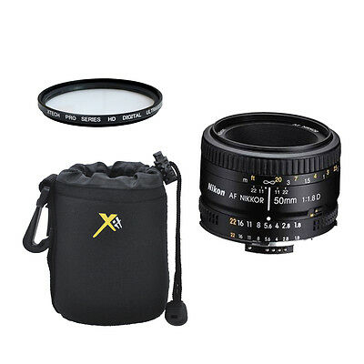 Nikon 50mm f/1.8D AF Nikkor Lens for Nikon Digital SLR Camera + Case + UV Filter