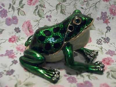 New Jeweled Bull Frog Hinged Porcelain Painted Box