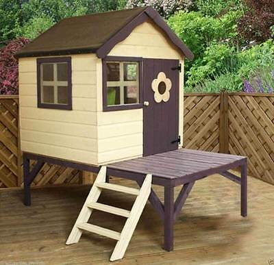 Wooden Tower Wendy Playhouse Kids Wood Garden Cottage Den Play House New Unused