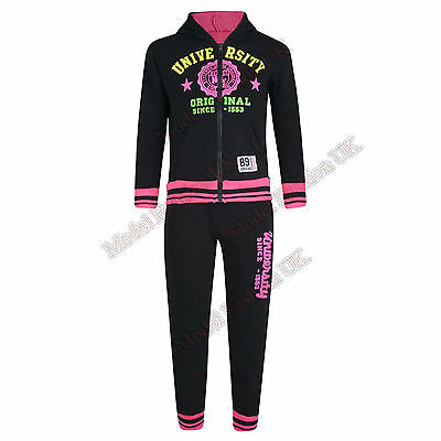 Kids University Tracksuit Hooded Top Jogging Bottoms Boys Girl 2 Piece Suit 2-14