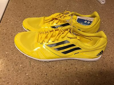 Adidas Adizero Avanti  2 Track Field Shoes Size 11.5 Yellow Black Spikes NWT