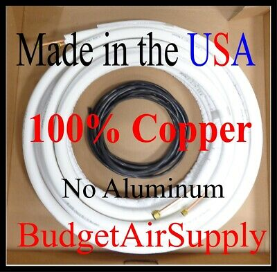 "1/4 x 3/8 x 15ft 1/2""wall 100% Copper Ductless Mini Split Line set+Control Wire"