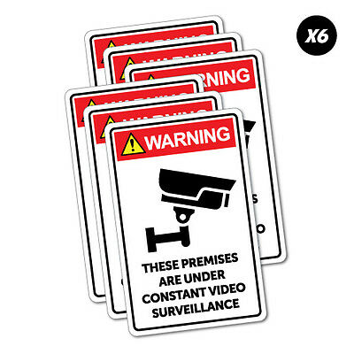 6X Warning Premises Video Surveillance Sticker Funny Car Stickers Novelty Decals