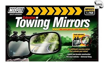 MAYPOLE Towing Extension Mirror - Convex Glass - Pack of 2 - 8323