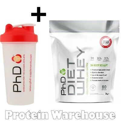PhD Nutrition Diet Whey Protein 2kg + Free PhD Shaker Lean Weight Loss Shake