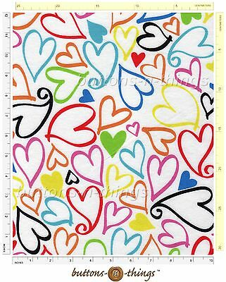 SKETCH HEARTS Cotton Flannel Fabric By the Yard