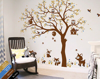 Tree wall decal with large set of animal stickers Nursery wall tattoos KR083_1