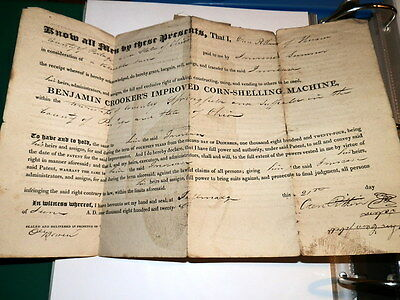 #7589, Very Rare 1828 Document Corn Shelling Machine,Coventry,Akron OH Area
