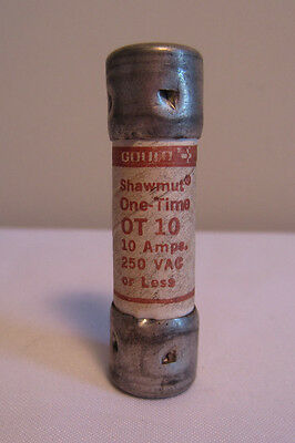 Gould-Shawmut OT-10 One-Time 10 Amp 250V AC 10A Class K5 Fuse NOS NEW NO BOX