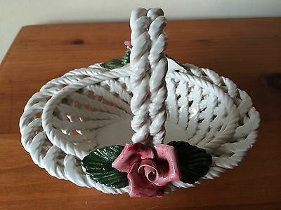 CAPODIMONTE WOVEN PORCELAIN BASKET PINK ROSES- MADE IN ITALY