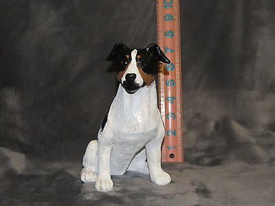 Jack Russell Terrier Plaster Dog Statue Hand Cast And Painted By T.c. Schoch