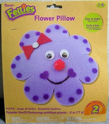 Darice Felties Kids' Felt Craft Kit - Flower Pillows (Makes 2) - For Ages 6+