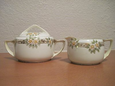 Vintage NIPPON Hand-Painted Creamer & Sugar Bowl w/Lid***M in Wreath***MUST SEE