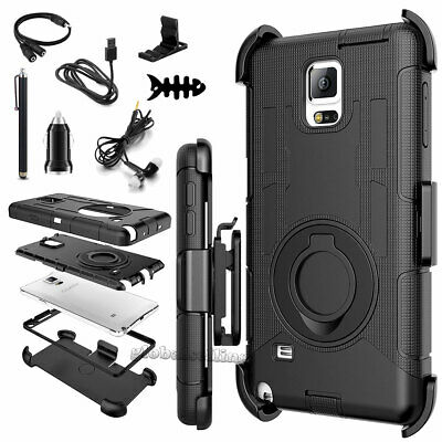 Fits Samsung Galaxy Note 9 8 5 4 3 Case Cover Rugged w/Belt Clip Holster Black