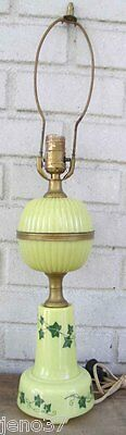 Nice Vintage Glass Lamp Neat Shade of Light Green~Leaf Decorated
