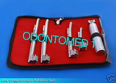 Laryngoscope Miller Set EMT W/ 4 Blades & 2 Extra Bulbs SURGICAL INSTRUMENTS
