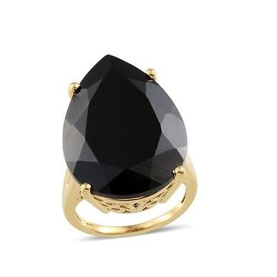 35ct Boi Ploi Black Spinel Solitaire Ring in Gold Overlay Sterling Silver - Sz P