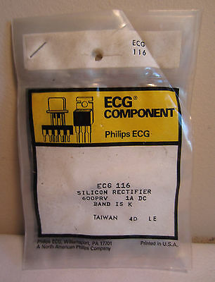 Lot Of 5 Philips ECG Component ECG 116 Silicon Rectifier 600PRV 1A DC