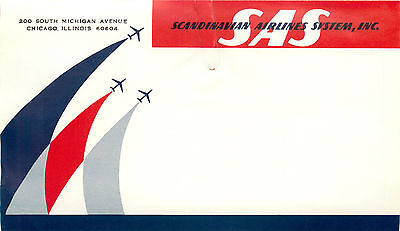 Scandinavian Airlines System / SAS - Great ART DECO Luggage / Mailing Label