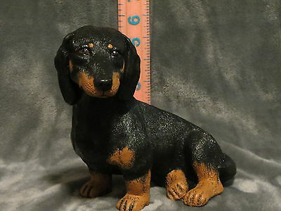 DACHSHUND PLASTER DOG STATUE HAND CAST AND PAINTED BY T.C. SCHOCH