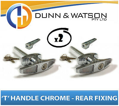 Chrome Plated Rear Fixing 'T' Lock / Handle (Trailer Caravan Canopy Toolbox) x2