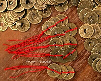 ~STRING OF 3 GOOD LUCK FENG SHUI COINS~Wealth~Prosperity~Good Luck Charm~Chinese