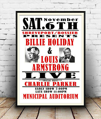 Billie Holiday & Louis Armstrong concert, vintage  advert , poster reproduction.