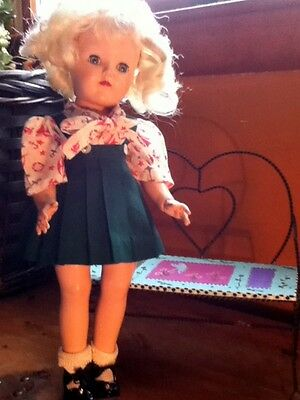 1950's hard plastic Toni Doll mark P 91 16 inches with ice cream parlor bench