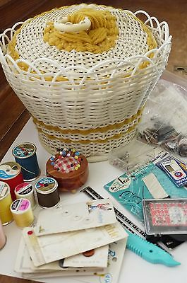 Vintage Sewing Basket with Sewing Supplies Sewing Notions Sewing Room Decor VGC