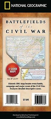 Battlefields of the Civil War Map National Geographic Highly Detailed Map