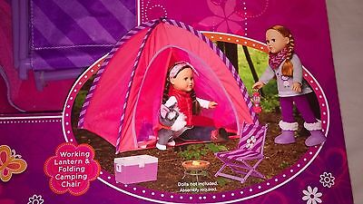 """18"""" INCH DOLL CAMPING TENT SET FIRE PIT WORKING LANTERN CHAIR FITS AMERICAN GIRL"""