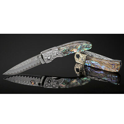 damascus steel abalone handle Collectibles pocket tactical small folding knife