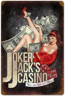Lethal Threat Pin Up Girl Joker Jack Casino Metal Sign Man Cave Garage LETH08