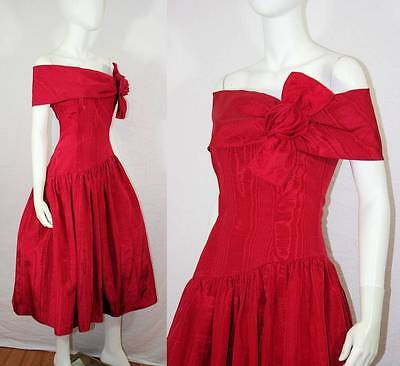 Vtg 80s Gunne Sax Red Moire Rose Full Tulled Off Shoulder Holiday Party Dress