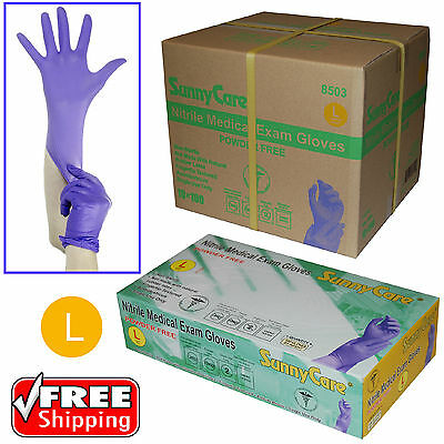 1000pcs 3.5mil Soft Nitrile Powder-free Medical Exam Gloves (Latex Vinyl Free)L