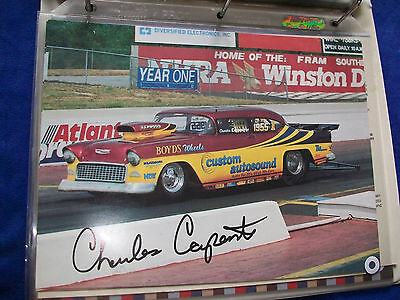 "Charles Carpenter - 1955 Chevy - 8""x10 1/2"" Autographed NHRA 1990s event photo"