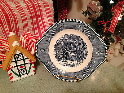 "CURRIER AND IVES Small Handled Cake Plate 8"" - Royal China Blue - Wishing Well"