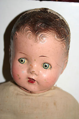 """VINTAGE 24"""" COMPOSITION SLEEPY EYE BABY DOLL 1920S OPEN MOUTH TEETH"""