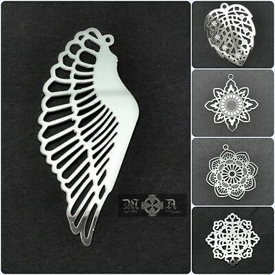 10 x Stainless Steel Thin Filigree Pendant Stampings - Various Patterns