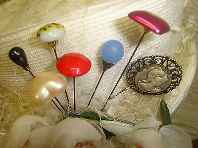 "LOT OF 7 HATPINS VINTAGE STYLE LADIES HAT PIN ( 61/2""-3"")STONE GLASS CAMEO PEARL"