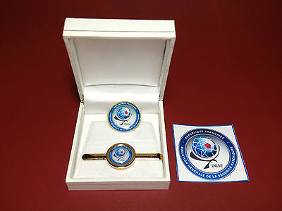 DGSE ( French Secret Police  Agency)  GOLD PLATED TIE CLIP & BADGES + STICKER