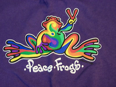 Peace Frogs Purple Retro Adult Small T-Shirt