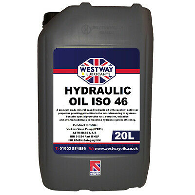 Hydraulic Oil ISO 46 Fluid 20L VG46 Westway High Grade 20 Litres DIN 51524
