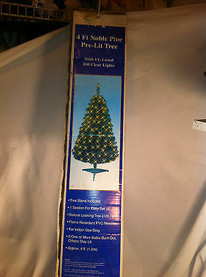 4 FT GREEN CHRISTMAS TREE w/ 150 CLEAR / WHITE LIGHTS ~ 173 TIPS ~ PRE-LIT TREE