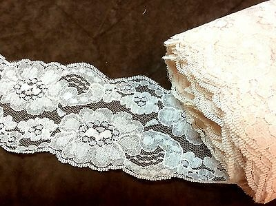 Light Peach Floral Lace  3 1/2 inches    1 yard