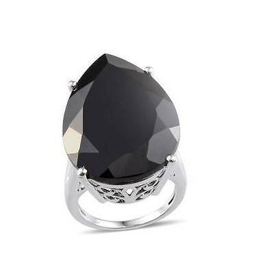 35ct Boi Ploi Black Spinel Solitaire Ring in Platinum OL Sterling Silver Size R