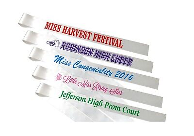 8 Custom Printed Pageant Sashes - Individual Titles - Free Shipping